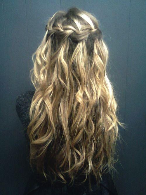 waterfall braid through the back of the hair.. so pretty