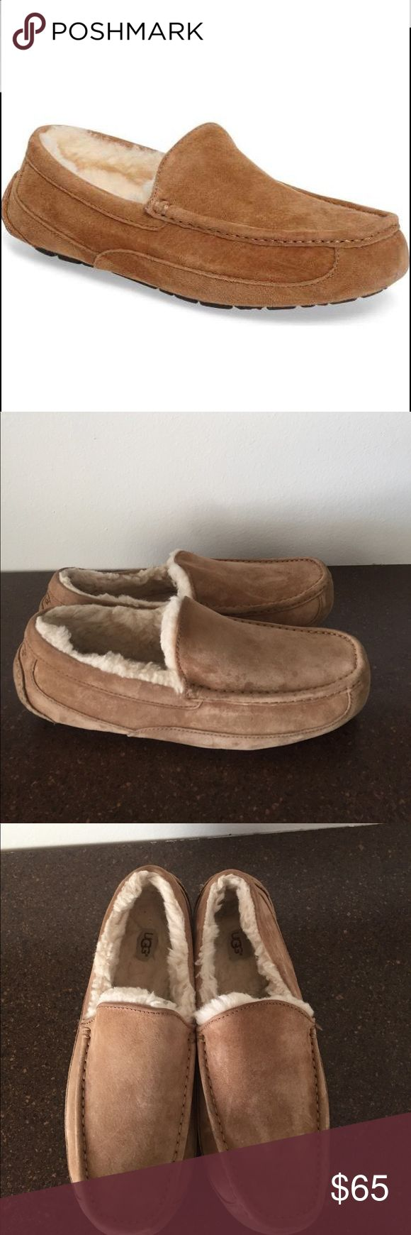Ugg Suede Ascot Slippers Men's Suede Ugg Ascot Slippers. Only worn once! Fur on inside is like new (pictured). Suede has little to no signs of wear and bottoms are like new (pictured). Awesome and comfortable shoes! UGG Shoes Rain & Snow Boots
