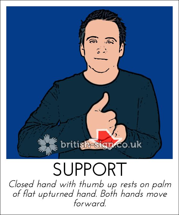 Today's British Sign Language sign is: SUPPORT #BSL #BritishSignLanguage - view more at www.british-sign.co.uk