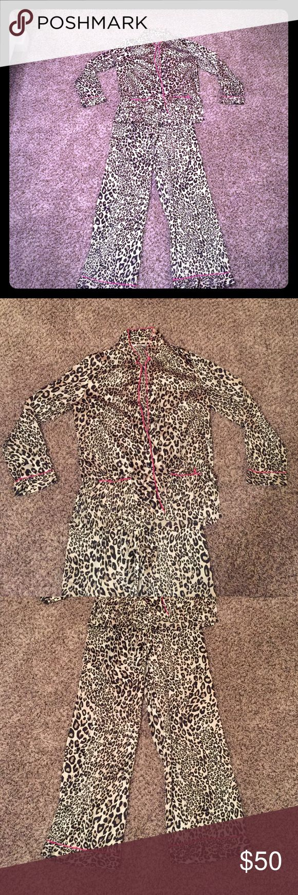 Victoria's Secret pajamas So soft! 100% polyester. Hot pink and leopard. Perfect condition. Victoria's Secret Intimates & Sleepwear Pajamas