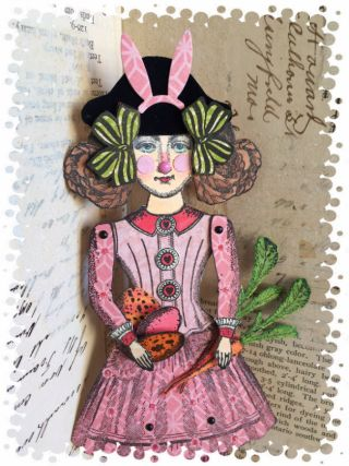 Paper doll created by Catherine Moore with stamps from the Blue Daisy and Paris Flea collections from Character Constructions.
