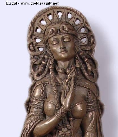 Celtic Goddess Brigid at the Well Statue - cold cast bronze
