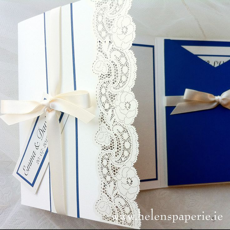 Rose Lace Invitation with Cobaly Blue Pocket & trim paper detail by Helen's Paperie