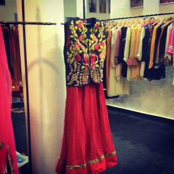 #aharin #jackets #kurtas #Bird #embroidered #red #festive #23 #hauzkhas village #happyshopping