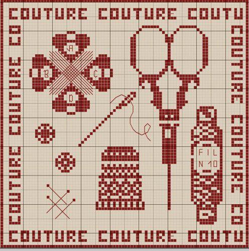 couturière - dressmaker - ciseaux - coton - dé - point de croix - cross stitch - Blog : http://broderiemimie44.canalblog.com/