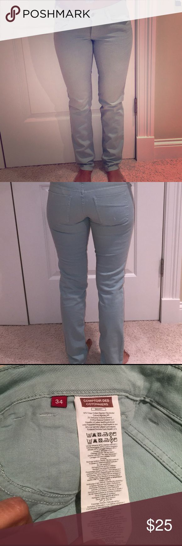 """Pistachio pale green jeans. Size 34 European. 32"""" inseam. No flaws and no trades. Size 34 European is 24-25 USA waist in denim. This is a French brand. comptoir des cotonniers Jeans Skinny"""
