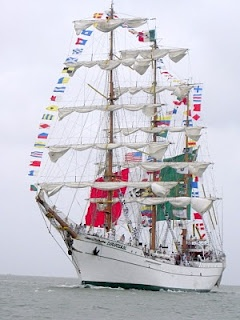 """Mexican sailing ship """"Cuauhtemoc"""" in Colors (I've been on this ship!)    http://svsweetpea.blogspot.com/2010/07/tall-ships-july-4th-weekend-2010.html"""