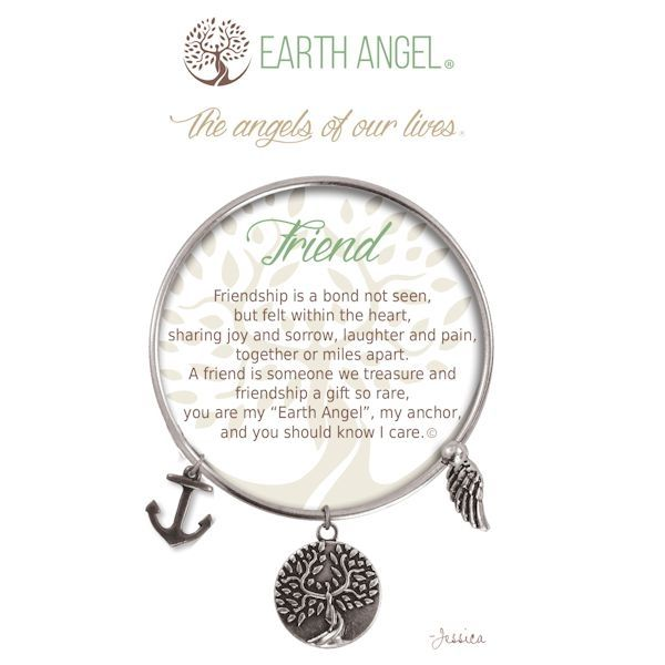 """Friend - Earth Angel Bangle - Silver - Earth Angels is a beautiful line of expandable charm bracelets created to thank, recognize and celebrate all the """"Earth Angels"""" who have positively impacted our lives. Each bangle comes in an gift box making it the perfect gift for your """"angel""""."""