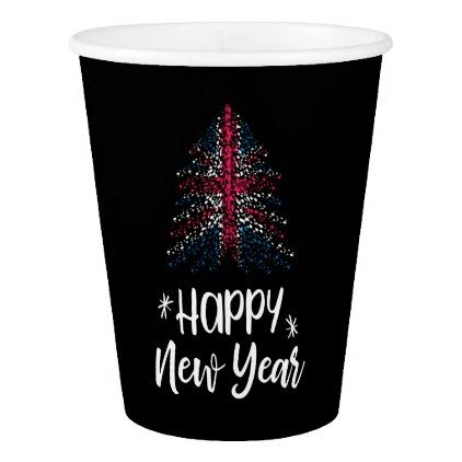 Happy New Year Christmas tree with UK flag Paper Cup - New Year's Eve happy new year designs party celebration Saint Sylvester's Day