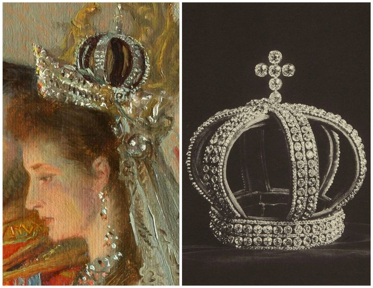 "Left: Close-up of Grand Duchess Alexandra Fyodorovna, from Tuxen's 1895 painting, ""Wedding of Nicholas II and Grand Duchess Alexandra Fyodorovna."" Collection of the State Hermitage Museum. Right: Nuptial crown, St. Petersburg, 1884. Worn by Grand Duchess Alexandra Fyodorovna on the occasion of her wedding in 1894. Collection of the Hillwood Estate, Museum & Gardens. Image from ""Russia's Treasure of Diamonds and Precious Stones,"" edited by A. E. Fersman, Moscow, 1925."