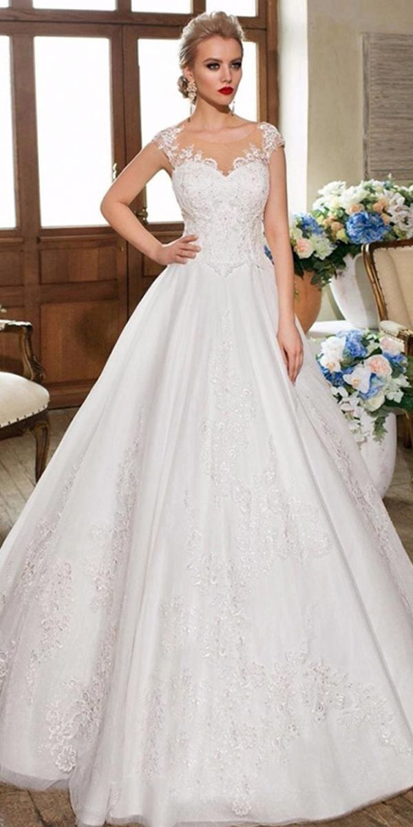 8879284c605 Exquisite Tulle Scoop Neckline A-line Wedding Dress With Beaded Lace  Appliques