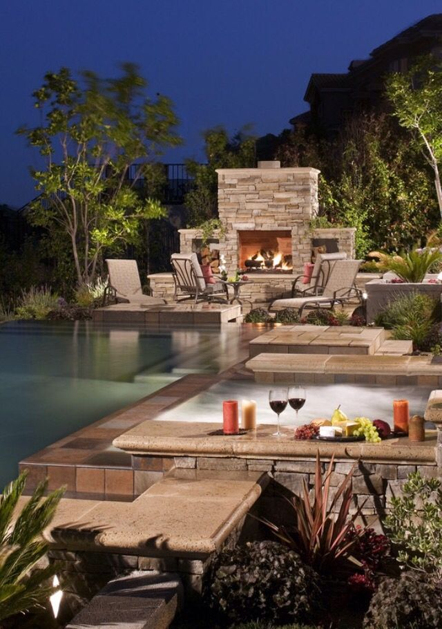 Pool hot tub and fire the perfect romantic setting my dream home wish list pinterest - My perfect pool ...