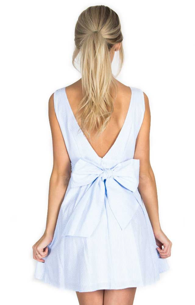 Lauren James Emerson Seersucker Bow Back Dress in Blue PC151