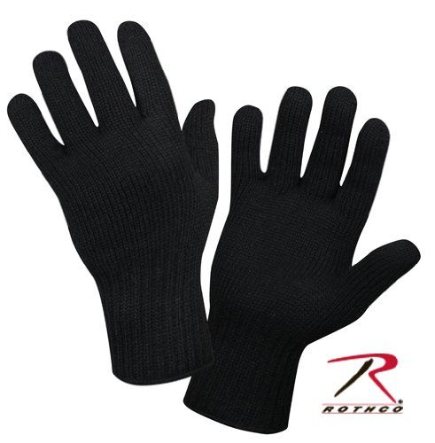 Black Military Wool Glove Liners (Medium)