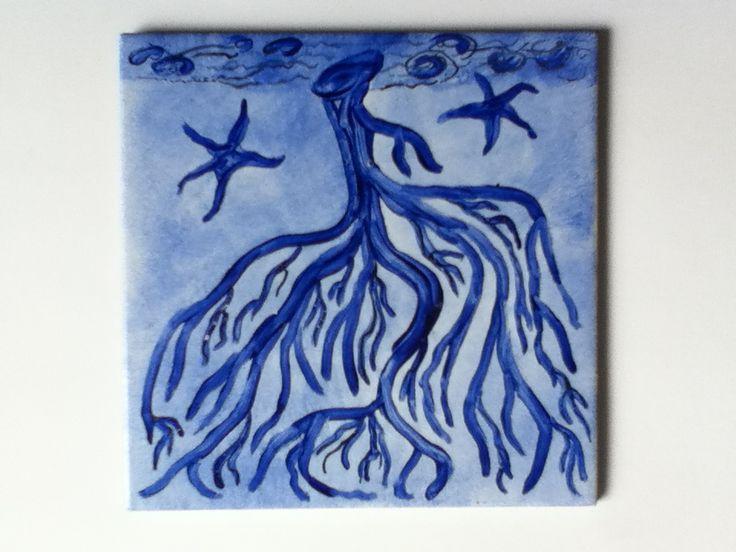 Azulejo pintado a mano pinturas sobre porcelana pinterest Pintar azulejos a mano