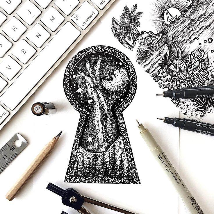 крутые картинки черной ручкой на магическую тему же