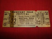 original 1965 NEWPORT FOLK FESTIVAL JOAN BAEZ BOB DYLAN WEEKEND FULL ticket