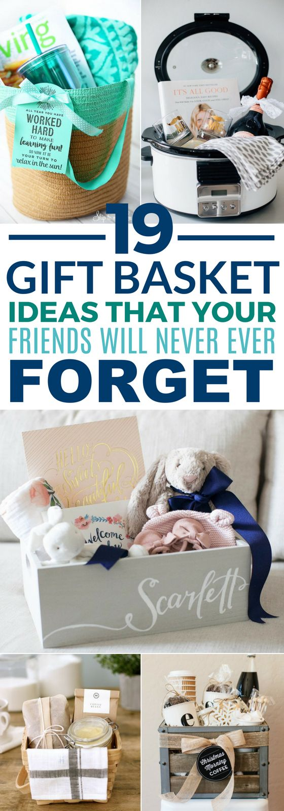 These 19 Gift Baskets Ideas Are Sure To Win Over All Of Your Friends! Whether for their birthday, Christmas, New Years, Valentine's Day, etc. there is something here for everyone. #giftbaskets #diy #crafts #holidays #birthdays