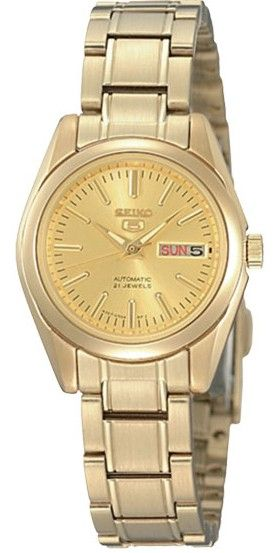 Montre Femme Seiko SYMK20K1 Automatique, bracelet et boîtier acier doré, cadran doré.