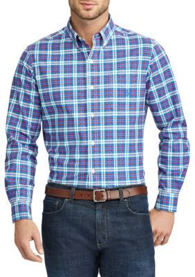 Chaps Men's Big And Tall Plaid Stretch Oxford Shirt - Dante Pink - 2Xlt