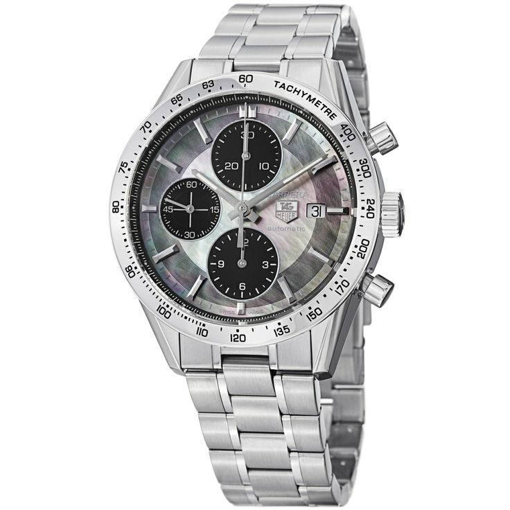 Tag heuer men 39 s cv201p ba0794 39 carrera 39 black mother of pearl dial bralcelet watch overstock for Tag heuer discount