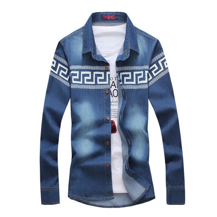Большой размер м-5xl тонкий джинсовые голубой рубашке Homme хлопок мужчины рубашка Camisa мужественный свободного покроя с длинным рукавом рубашки E68