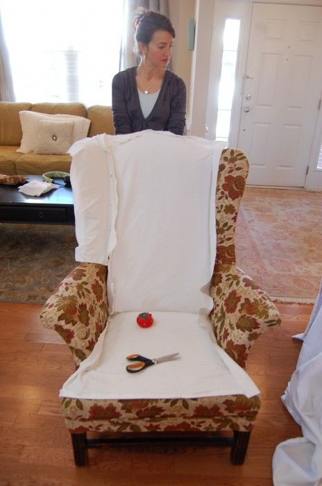 wing chairs - diy slipcover.