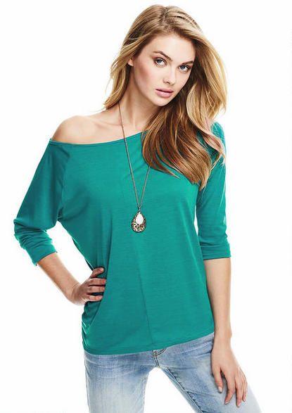 Three-Quarter Sleeve Off-Shoulder Tee - Plus Size Tops - Alloy Plus - Alloy Apparel