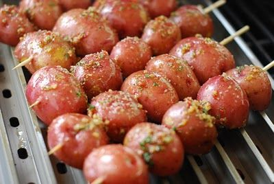 Grilled Potatoes - I love the Kabob idea! Keeps the potatoes from rolling all over and falling into the grill