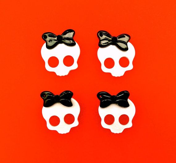 4  Skull Bow Cabochon Charms  27mm  Rockabilly by CraftyMissBettie