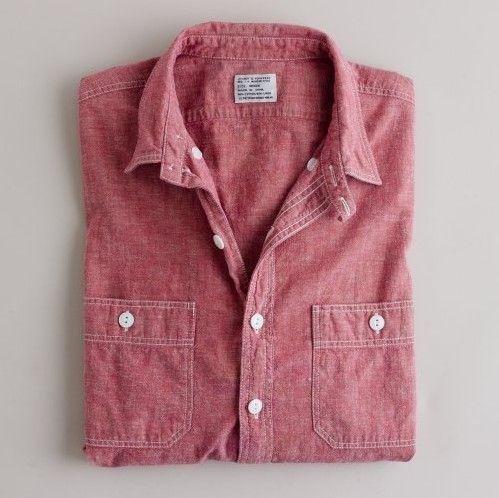 : Red Chambray, Style, Closets, Chambray Shirts, Denim Shirts, Men Fashion, Buttons, Utility Shirts, Chambray Utility