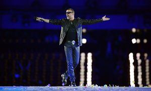 Performing during the closing ceremony of the 2012 London Olympic Games on 12 August 2012.
