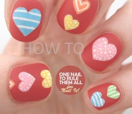 Valentines Day Nail Tutorial: Colorful Hearts | NailIt! Magazine