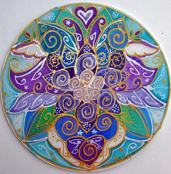 mandala art When Angels Speak the heart by HeavenOnEarthSilks, $45.00
