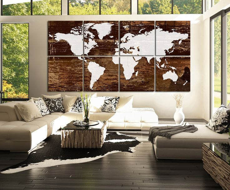 Canvas Art Print White WORLD MAP on Rustic Wood - 8 Panel Vintage World Map Canvas Art Print - Retro World Map - MP3