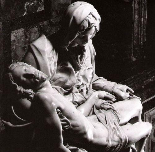 "Sculpture ""Lamentation of Christ"" (Pieta) by Michelangelo. Height 174 cm St. Peter's Basilica, Vatican City."