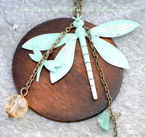Double Dragon Flys Mint Green Patina & Wooden by ChristinaNaturals, $18.50: Double Dragon, Dragon Flies, Dragon Flying, Dragon Flys