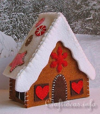 Casa de jengibre en fieltro paso a paso, navidad                                                                                                                                                      Más