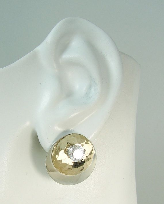 Earring Jackets Two Tone 14k Gold Filled Hammered Circle On Sterling Silver Smooth Double Jttcchm