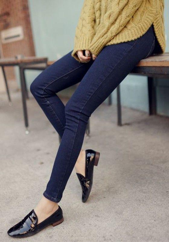 Blue Plain Zipper High Waist Long Jeans