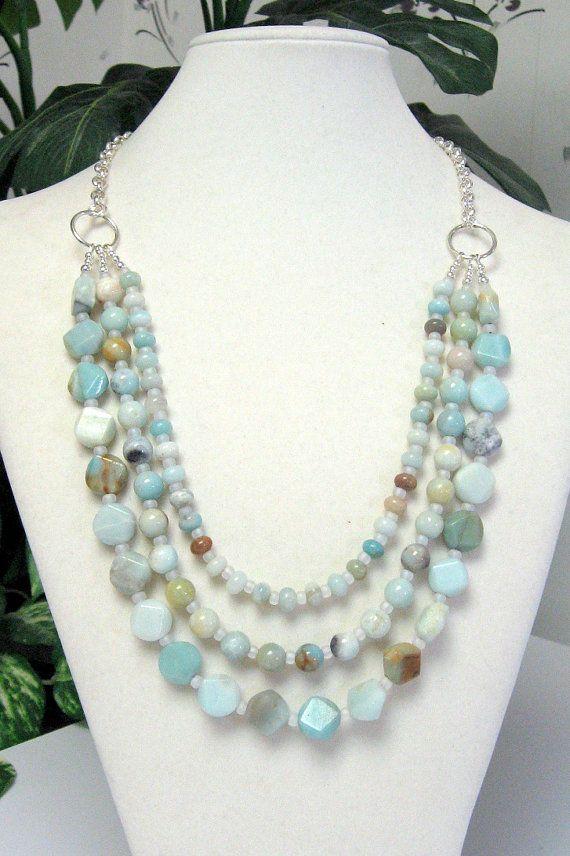 amazonitethree strand necklace amazonite necklace