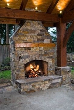 Traditional Patio Fireplace Design, Pictures, Remodel, Decor and Ideas - page 283 This might also work with a two sided fireplace.  One into the patio and one outside to the pool.