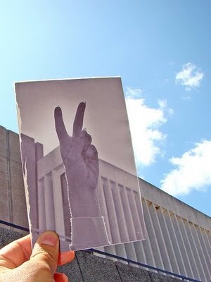 Peace sign (from the early 70s) in front of the Environmental Sciences Building on the U.W. - Green Bay campus. by Ken Josephson