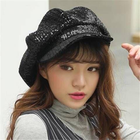 Black Sequin newsboy cap for teenage girls fashion baker boy hat
