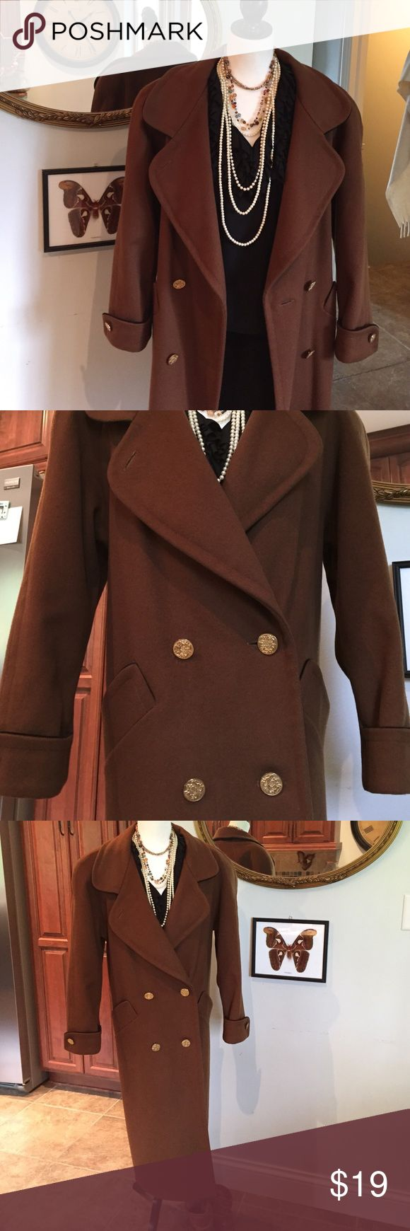 """LONG LINED BROWN DRESS COAT WITH BLACK PIPING Great condition! 100% wool & gold buttons. Measurements: 40"""" chest, 47"""" long, 24"""" sleeves. Black silky lining. Ashley Scott Jackets & Coats"""