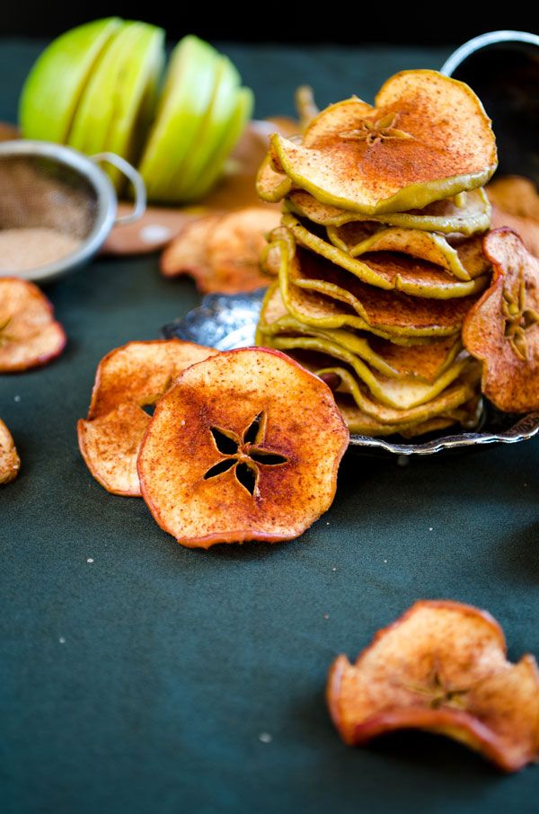 Cinnamon Sugar Apple Chips. Want to try these in the dehydrator instead of oven.