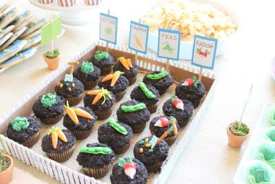 Peter Rabbit Party! I like the way these cupcakes are served.