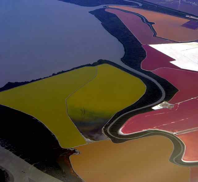 Salt ponds, - Fremont, California, by ckuhn55 I remember seeing the different colors like this when living/biking Coyote Hills