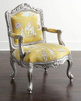 "Danbury Bergere Chair by Massoud at Horchow. Exclusively ours. This Louis XV-style bergere chair contrasts a ravishing silver-finished mahogany frame with chinoiserie-print cotton for a chic mix of fun and formality. Mahogany frame. Cotton upholstery. 29""W x 30""D x 41""T. Seat, 19""T; arms, 26""T. Imported."