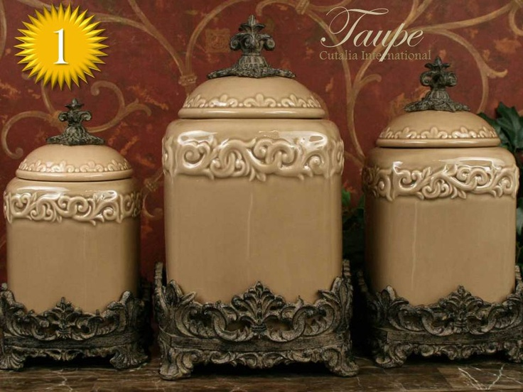 decorative canister sets kitchen design quot taupe quot large kitchen canister set of 3 top 17162